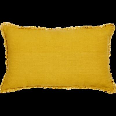 Coussin côtelé à franges jaune 30x50cm-SANI