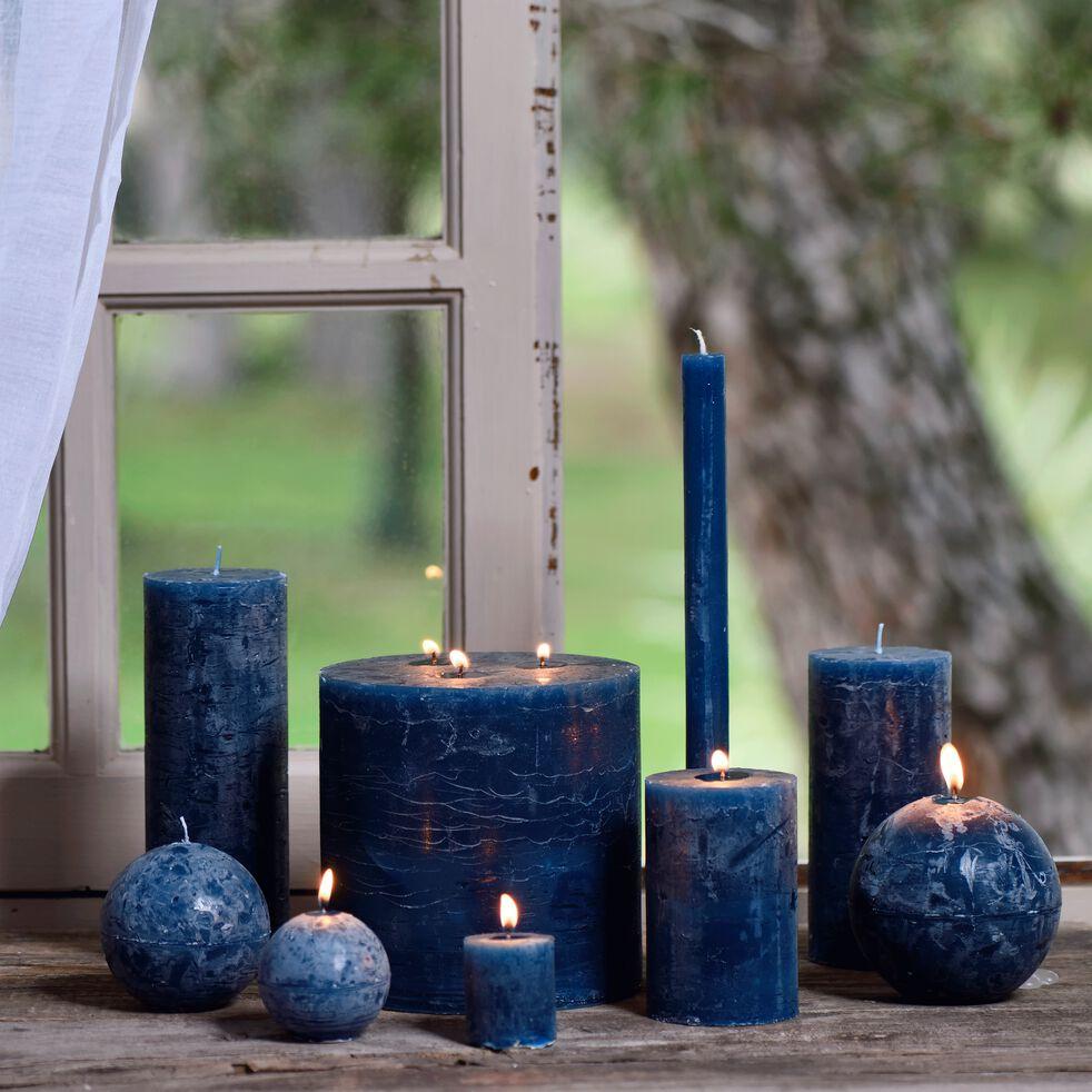 Bougie cylindrique - bleu figuerolles H11cm-BEJAIA