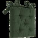Galette de chaise en coton vert cèdre 40x40cm-CALANQUES