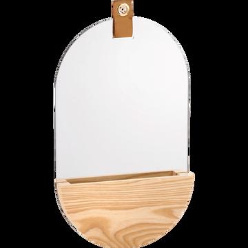 Miroir de salle de bains ovale en bois-GANDIN