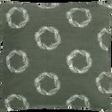 Coussin vert à motifs couronnes blanches 40x40-COURONNE