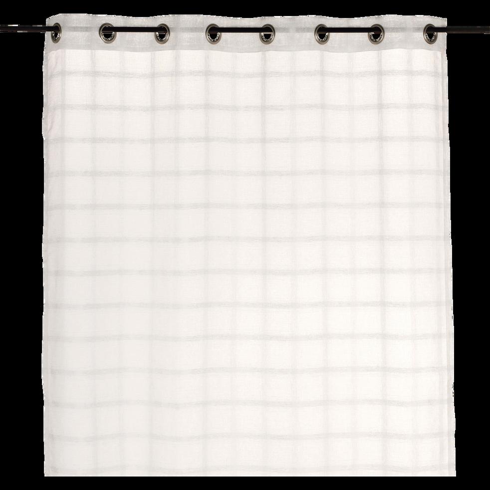 Voilage à œillets blanc à carreaux 140x250cm-Manathan