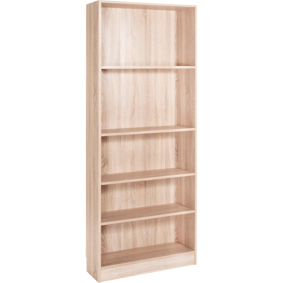 grande biblioth que 5 tablettes coloris ch ne clair l79cm. Black Bedroom Furniture Sets. Home Design Ideas