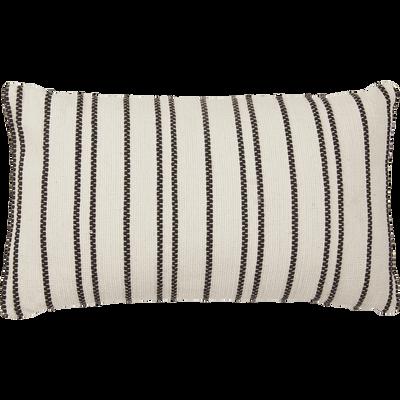 Coussin en coton brodé noir et écru 30x50 cm-BADIANE