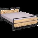 Lit 2 place bois et métal avec tête et pieds de lit - 140x190 cm-ENDOUME