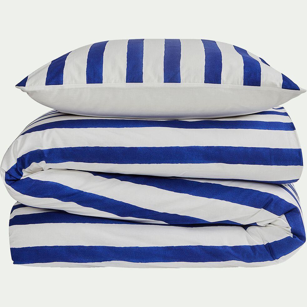Housse de couette et 2 taies d'oreiller rayés en coton - bleu 240x220cm-SINTRA