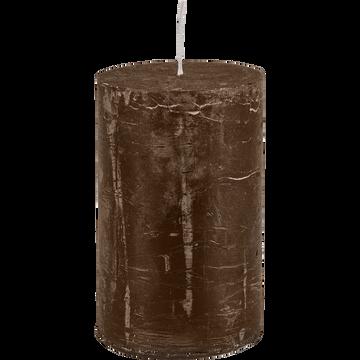 Bougie cylindrique brun ombre H11cm-BEJAIA