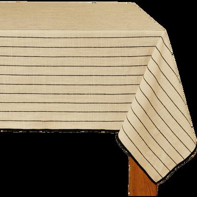 Nappe en coton blanc et noir 170x170cm-BADIANE