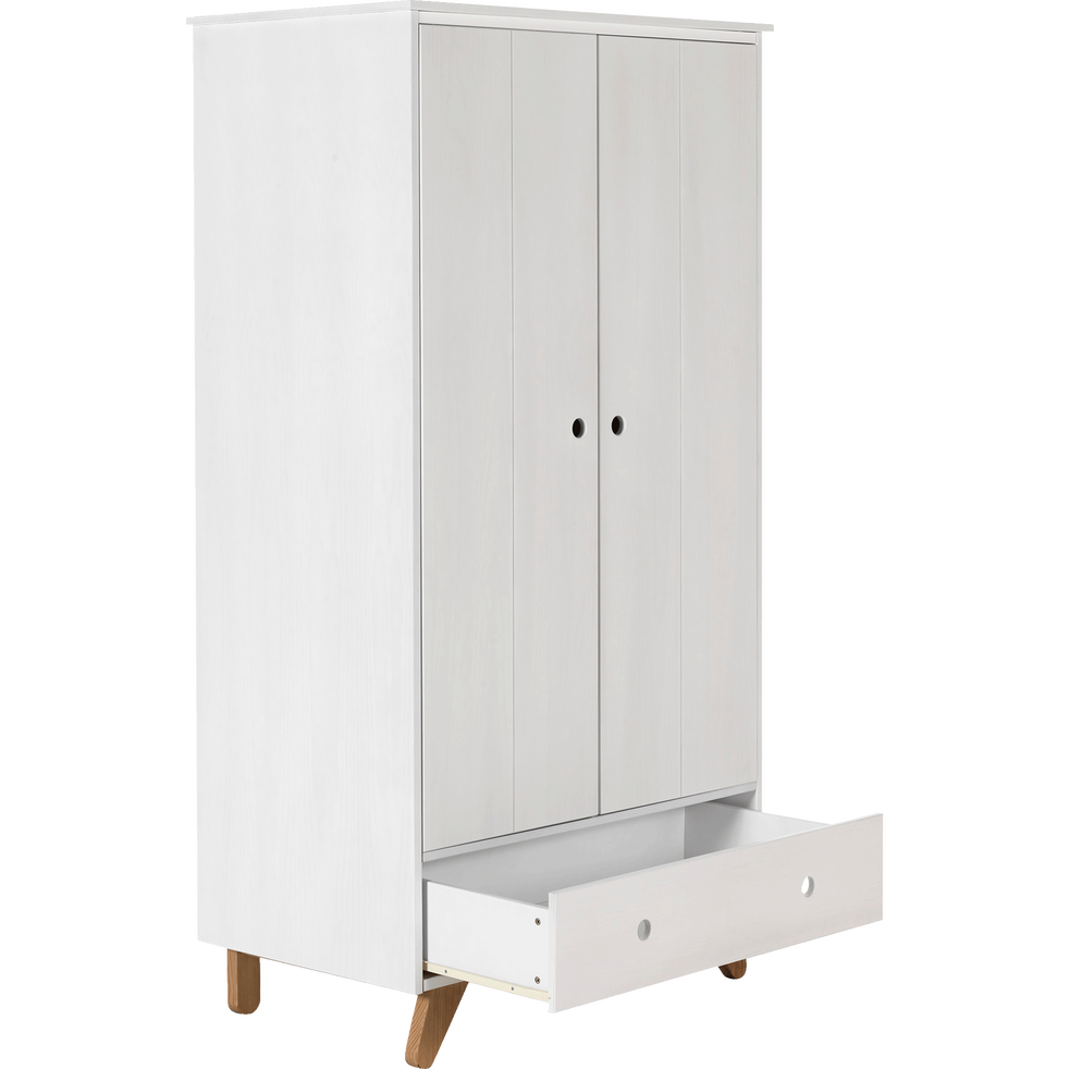 TIPI - Armoire 2 portes battantes et 1 tiroir en pin massif