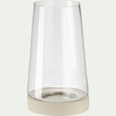Vase en verre et socle en ciment - gris D17xH31cm-Cimea