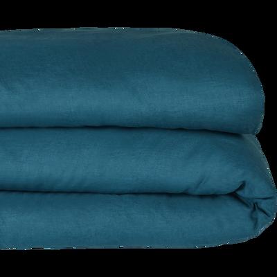 Housse de couette en lin Bleu figuerolles 240x220cm-VENCE
