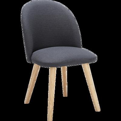 Chaise rétro en tissu gris anthracite-SERAPHINE