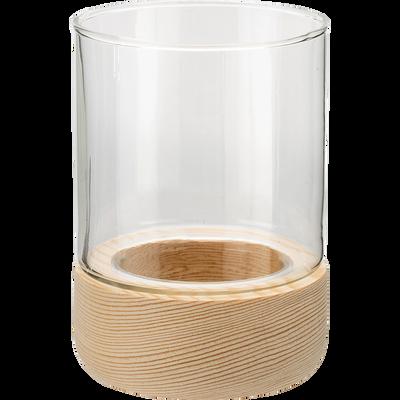Photophore bois et verre transparent H8,5 cm-Skyro