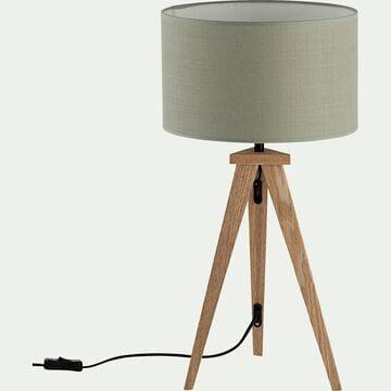 Lampe à poser en bois - vert olivier-TRIX