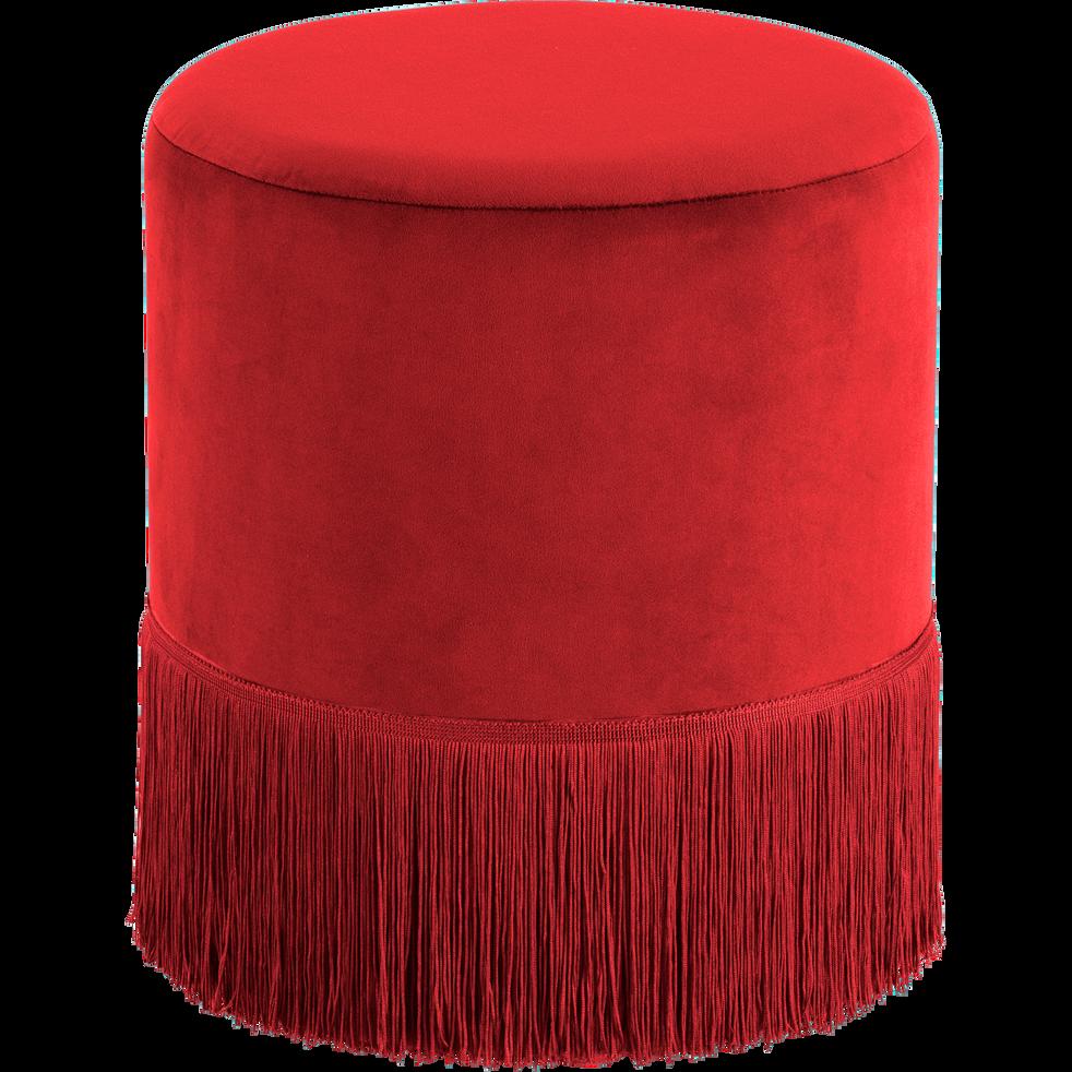 Pouf en velours rond D35cm rouge sumac-MAUA