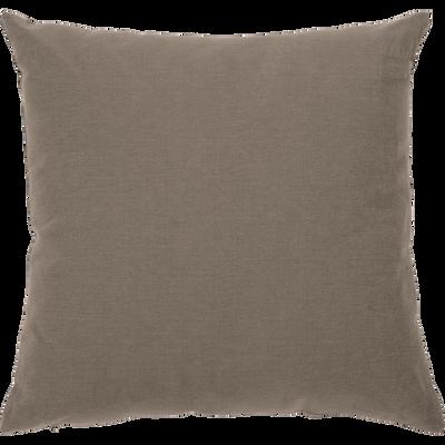 Coussin en coton brun châtaignier 40x40cm-CALANQUES