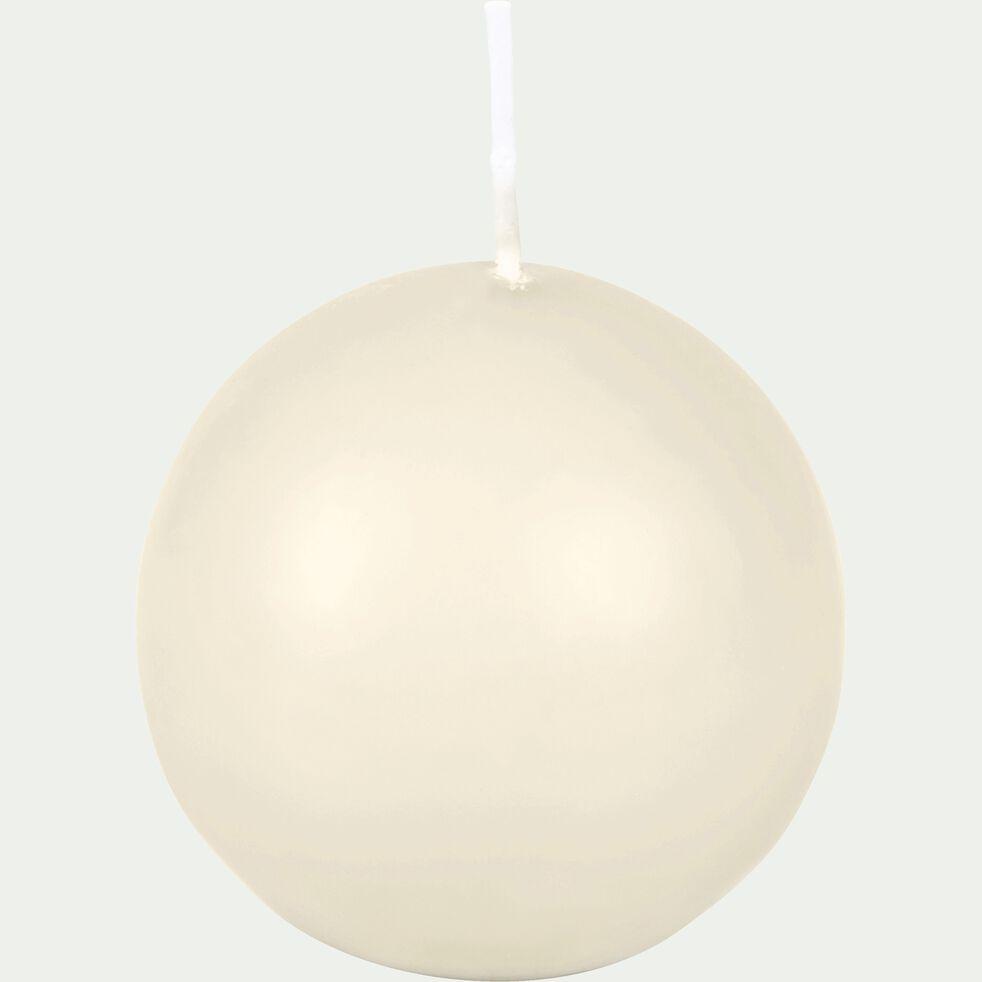 Bougie ronde beige roucas D6cm-HALBA