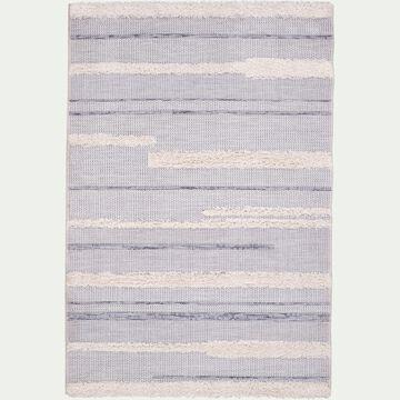 Tapis rectangulaire motifs rayés et jeu de matières 160x230 cm-MAGGIE