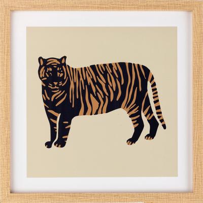 Image imprimee sur bois et encadree tigre 30X30 cm-ANTHEOR