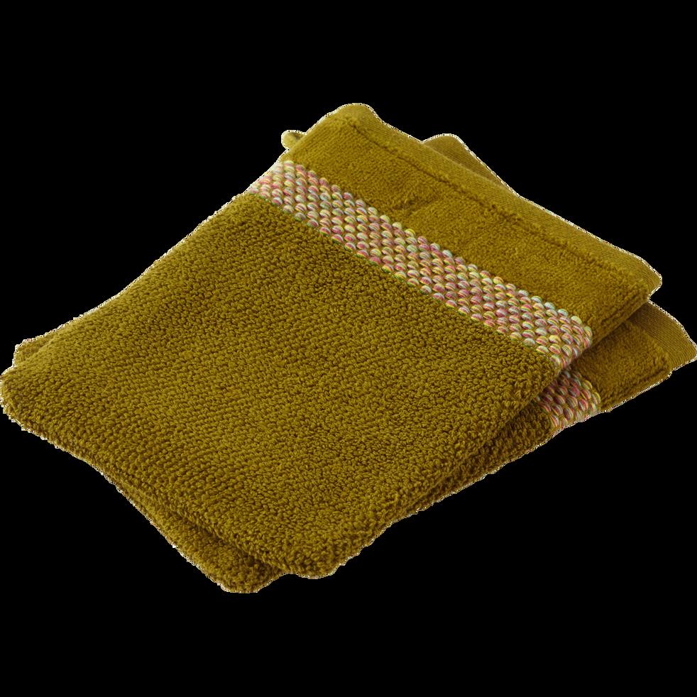 Lot de 2 gants en coton vert kaki-LONY