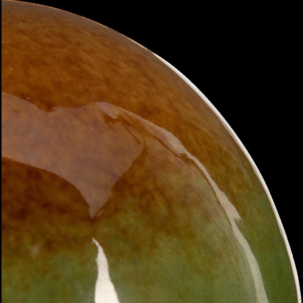 Boule déco en céramique vert et jaune D10cm-VIGAN