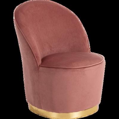 Fauteuil en velours rose base laiton-DUN
