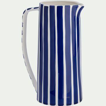 Pichet en grès à rayures - bleu D20,2xH27,5cm-LAGOS