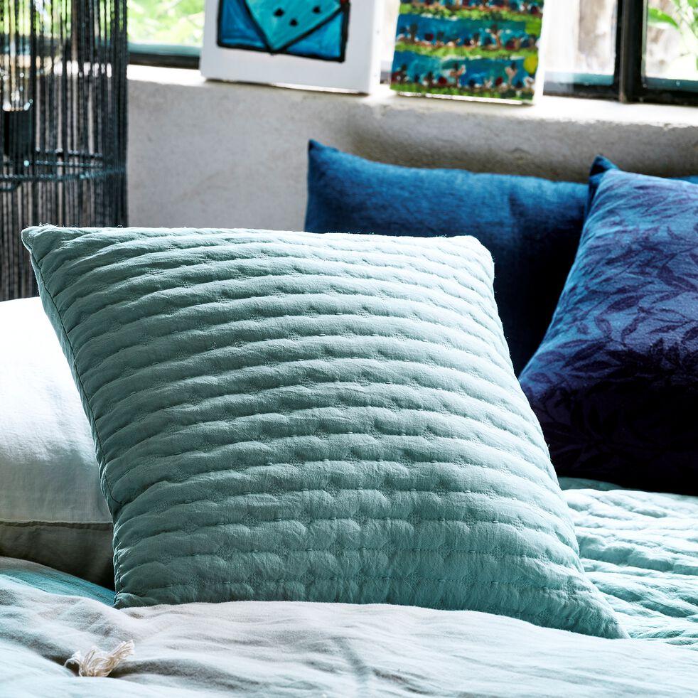 Coussin en tissu surpiqué - bleu calaluna 45x45cm-BENITO