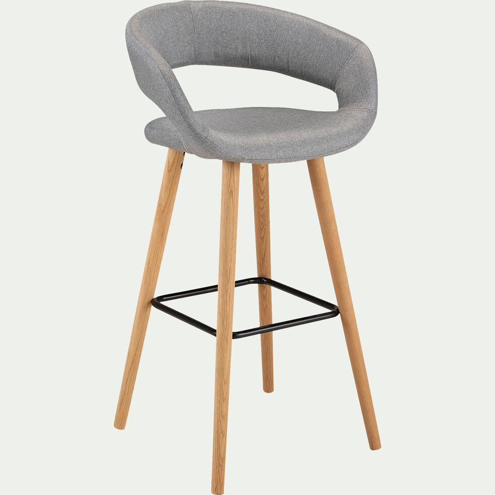 Chaise de bar en tissu avec accoudoirs gris clair - H75cm-JOYAU
