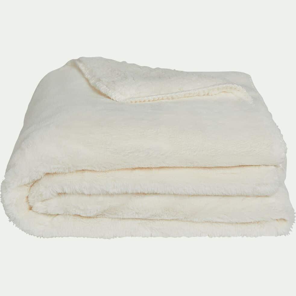 Plaid doux imitation fourrure blanc ventoux (plusieurs tailles)-MARIUS