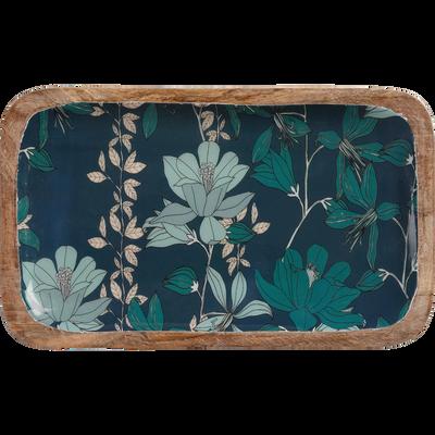 Plateau en manguier et résine bleue décoré D25cm-APHELIE
