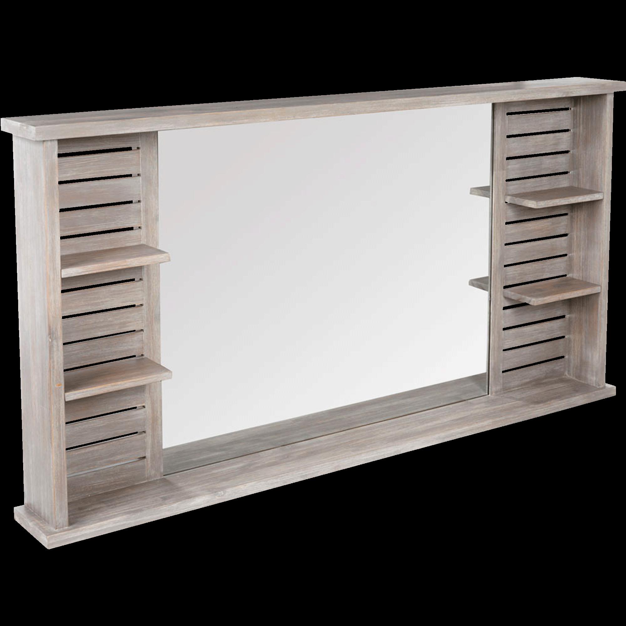 Merveilleux Miroir Rectangulaire De Salle De Bains Avec Tablettes En épicéa 140cm Marine