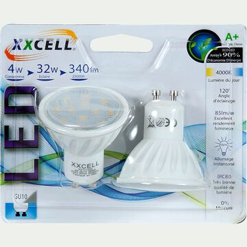 2 Ampoules LED blanc froid culot GU10-GU10