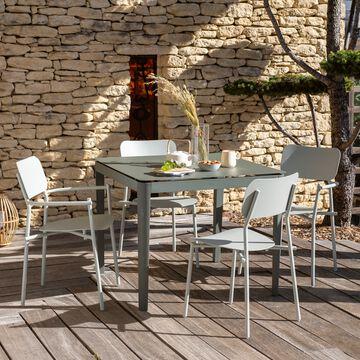 Ensemble table (4 places) et chaises de jardin en aluminium