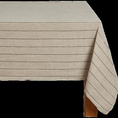 Nappe rayée en lin beige 170x250cm-BORSALINO