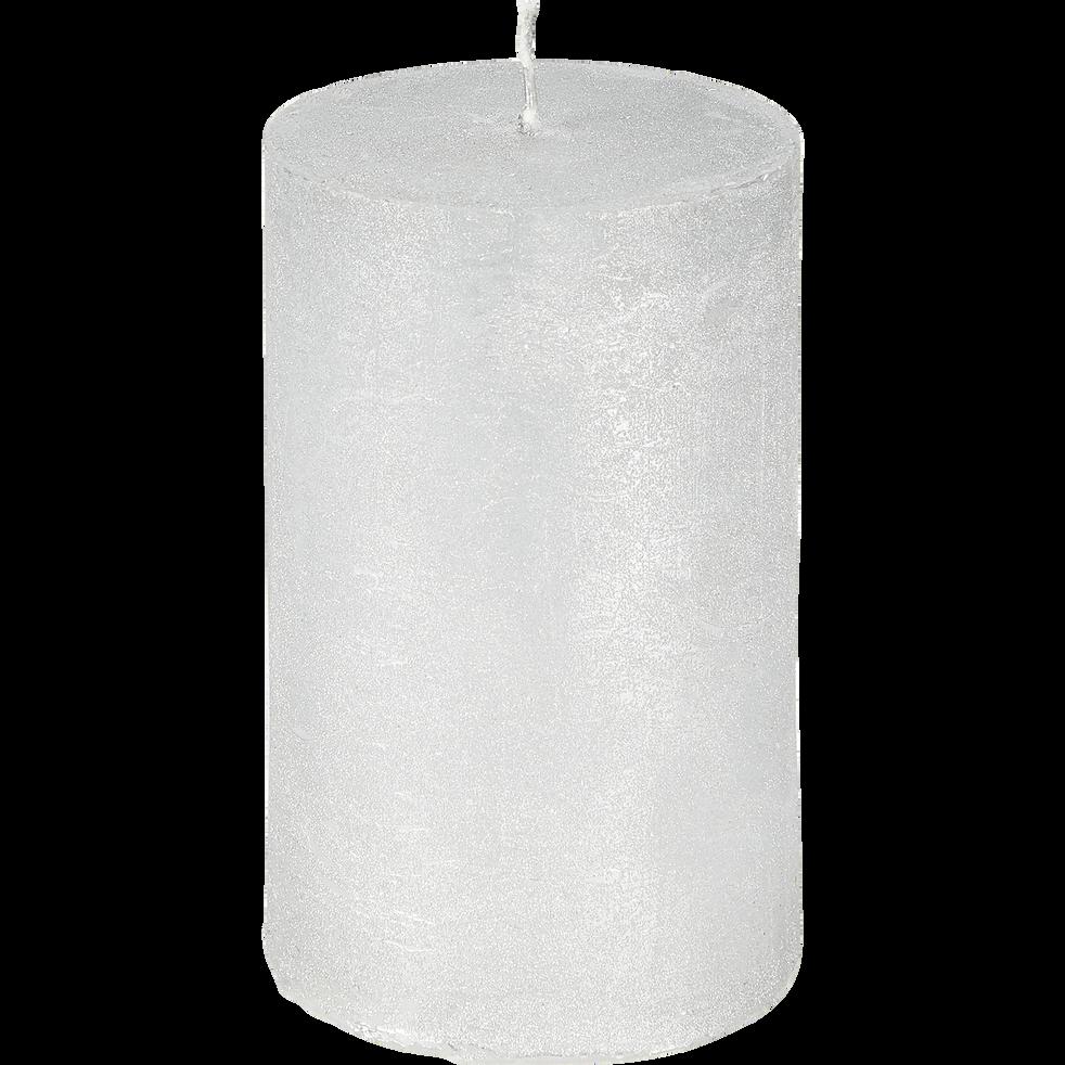 Bougie cylindrique argentée H11cm-TOTEM
