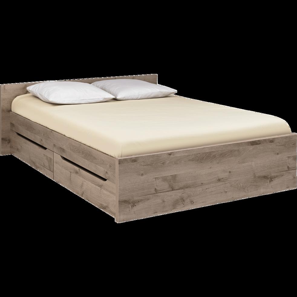 Lit 2 places avec tête de lit et tiroirs finition chêne cendré - 140x200 cm-BROOKLYN