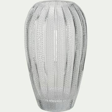 Vase en verre avec relief transparent H20,5 cm-Dokoy