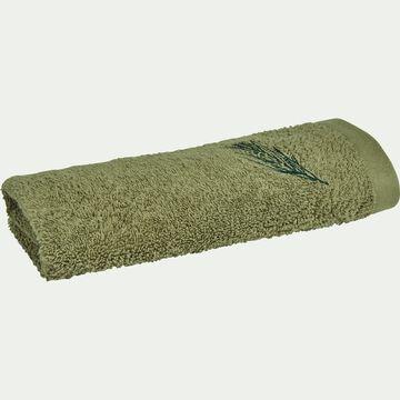 Serviette invité brodée en coton bouclette - vert olivier 30x50cm-AMBIN