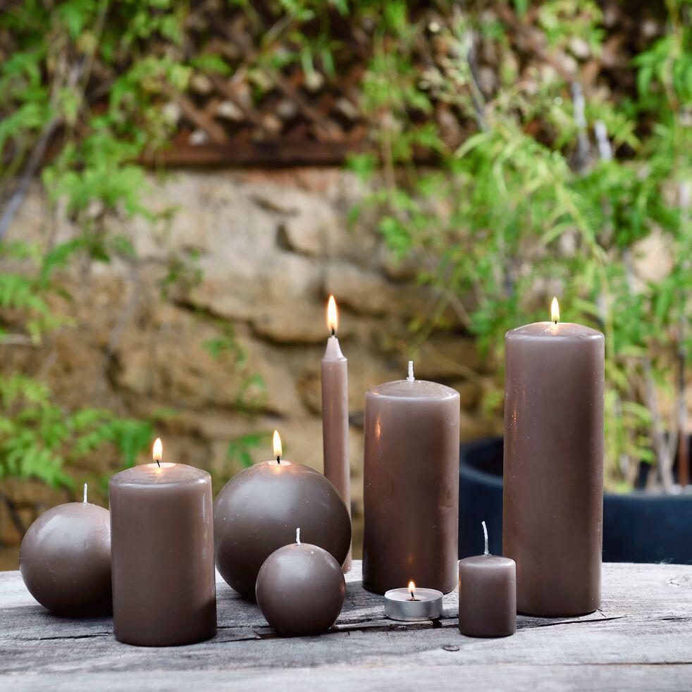 Bougie cylindrique - brun albe H20cm-HALBA