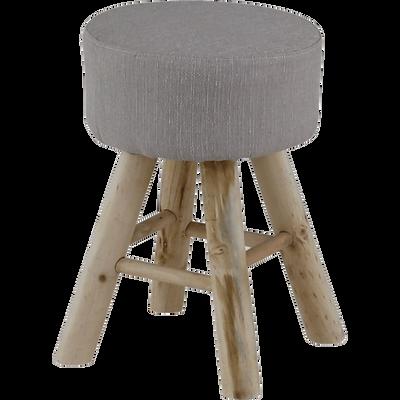 Pouf  rond avec piétement en bois beige roucas-PEAK