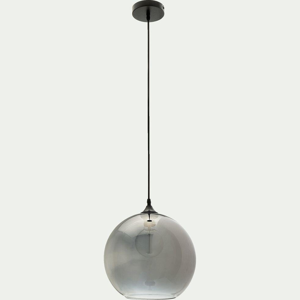 Suspension en verre gris transparent D30xH130cm-MARCELINO