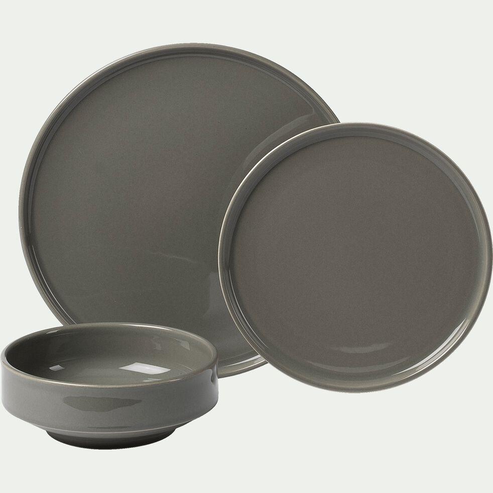 Coffret de vaisselle 12 pièces en faïence - vert cèdre-VADIM