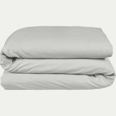 Housse de couette rayée en satin de coton gris borie-SANTIS