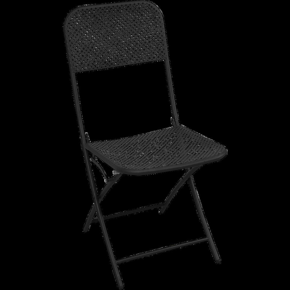 chaise de jardin pliante noire en acier holy soldes alinea. Black Bedroom Furniture Sets. Home Design Ideas