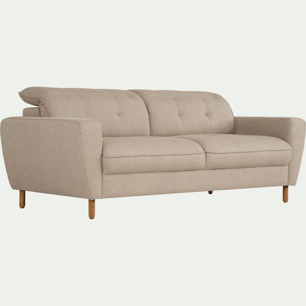 Canapé fixe 3 places en tissu avec têtière réglable - beige-ODYS