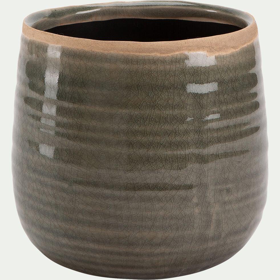 Pot craquelé en céramique - vert D15xH14cm-ABUR