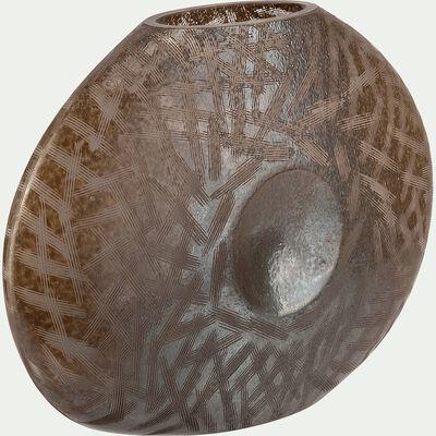 Vase plat en verre griffé - marron doré L32xl10xH23,5cm-TANJA