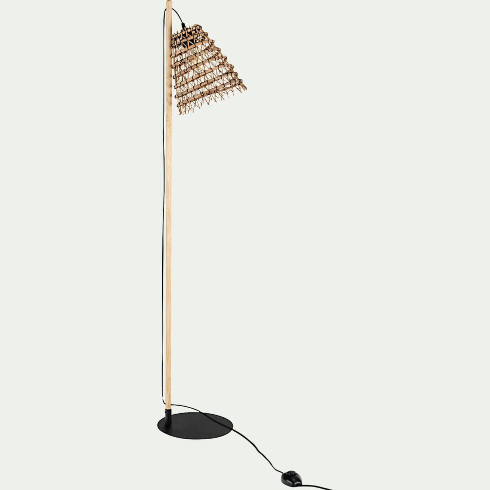 Lampadaire fait main en fibre de palmier - noir H130cm-ORIA