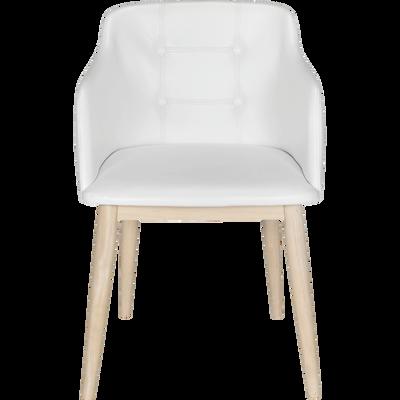 Chaise capitonnée blanche en simili avec accoudoirs-CORK